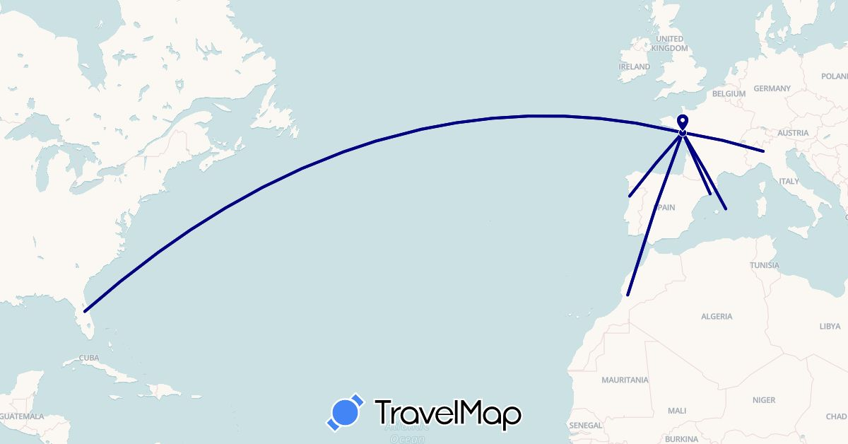 TravelMap itinerary: driving in Spain, France, Italy, Morocco, Portugal, United States (Africa, Europe, North America)